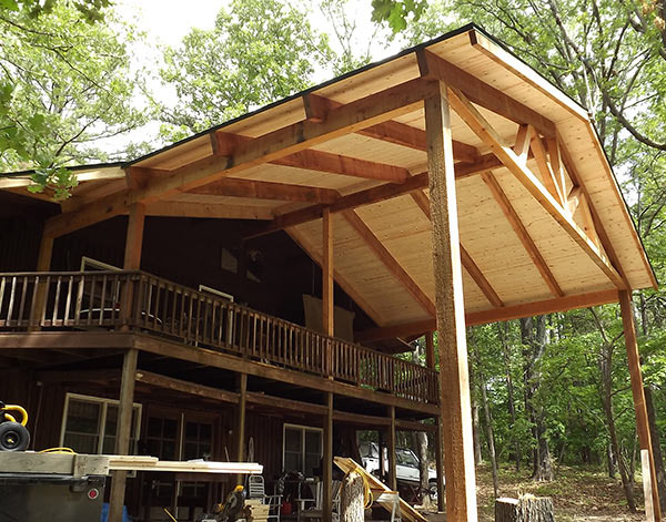 Deck cover open cedar beam construction with t g pine for T g roof decking